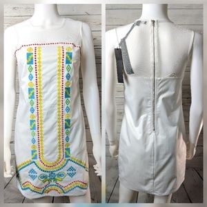 C. Luce S White Embroidered Embellished Dress